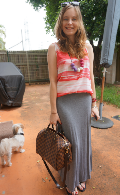 Summer Brushstroke pink tank grey jersey maxi skirt LV speedy B casual outfit