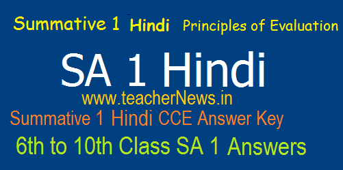 Summative 1/ SA 1 Hindi Answers/ Key Sheet 6th, 7th, 8th, 9th, 10th Class Principles of Evaluation