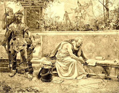 El legionario mira con cara de pocos amigos a Arquímedes, que le da la espalda. Y aquí finaliza la historia de hoy. Gracias nuevamente si llegaste hasta aquí. Y si leíste los comentarios de las fotos, te agradecería que me dejases un comentario en el blog. Así sabré si puedo seguir poniendo lo que me dé la gana, o si realmente se lee y he de tener más cuidado con las anotaciones. Mil gracias.