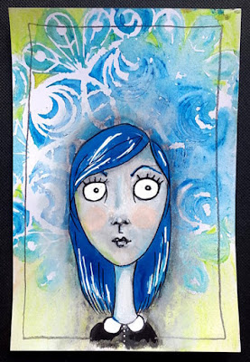 Carmen Wing - Wide eyed girl portrait in mixed media - predominantly oil pastel & water colour