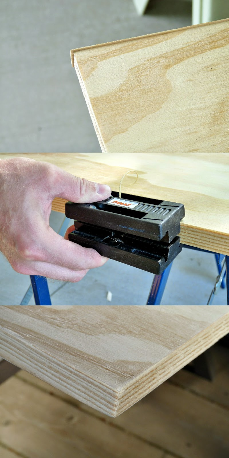 Using an edge trimmer // how to egde tape plywood