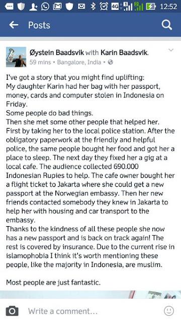 Anaknya Kena Jambret, Warga Norwegia Ini Bangga Dengan Orang Indonesia