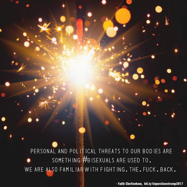 Image of fireworks meets a dandelion with the words Personal and political threats to our bodies are something #bisexuals are used to. We are also familiar with Fighting. The. Fuck. Back. Image Credit: BiNet USA