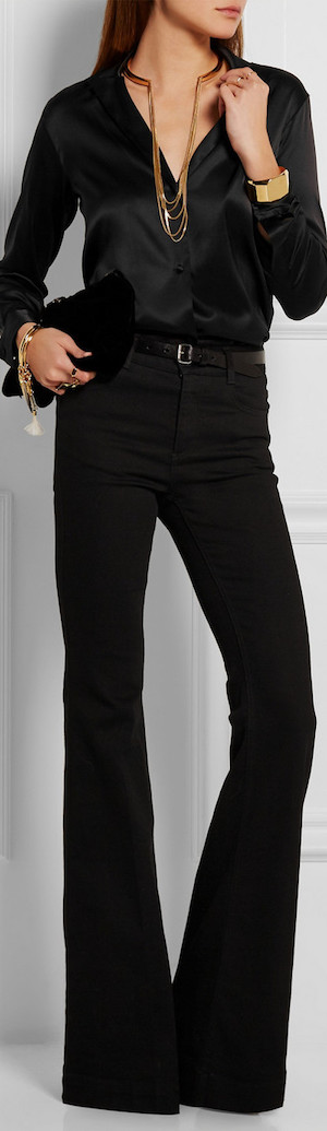 DKNY Stretch-Silk Satin Shirt shown in Black