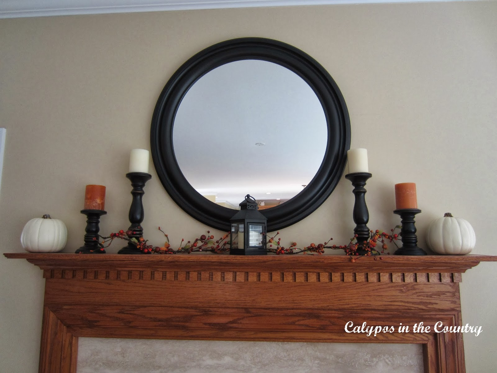 Fall Mantel with Round Mirror