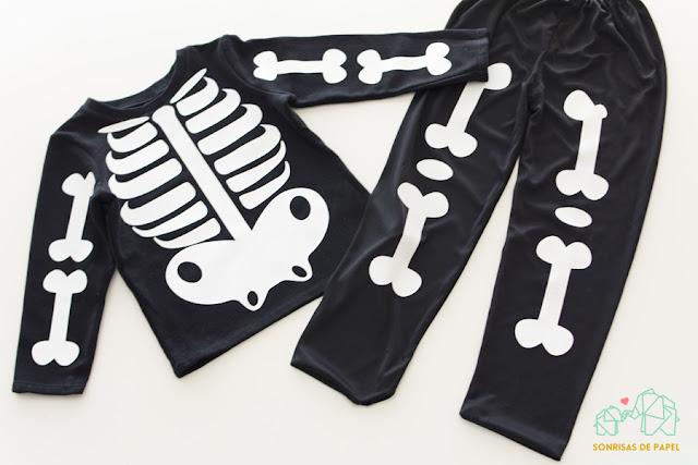 disfraz esqueleto casero niño