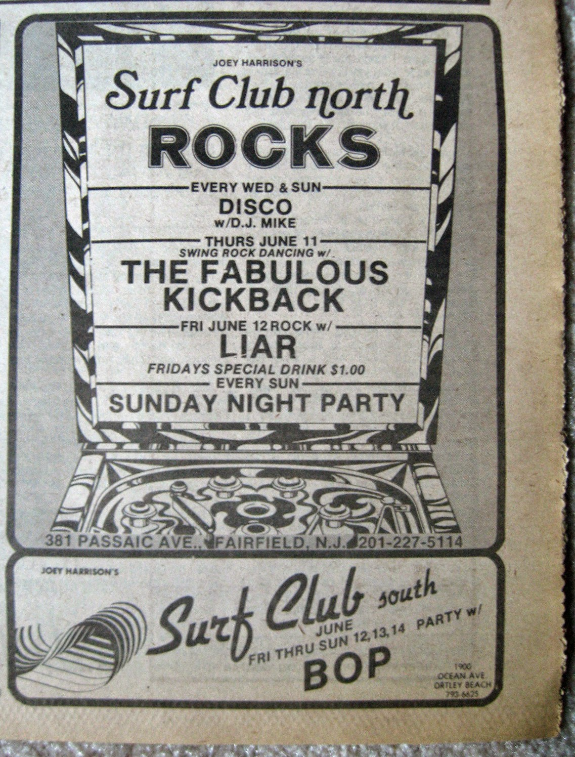 The Surf Club North band line up 1981