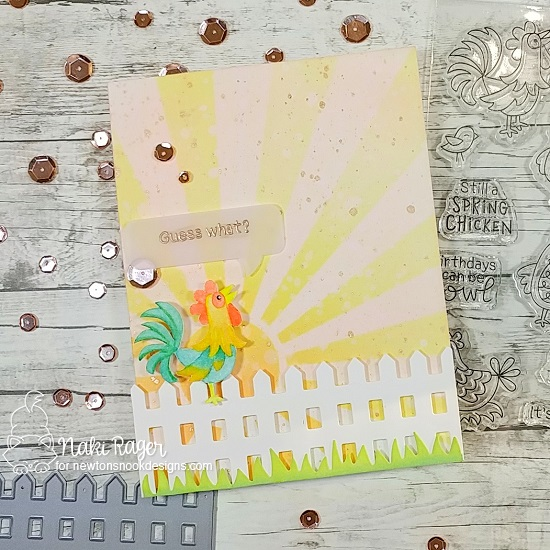 Chicken Card by Naki Rager | Cluck Stamp Set, Fence Die, Land Borders Die Set, Speech Bubble Die Set and Sunscape Stencil by Newton's Nook Designs #newtonsnook #handmade