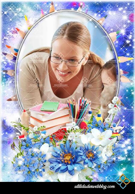 Marco floral color azul para colocar fotos del dia del maestro