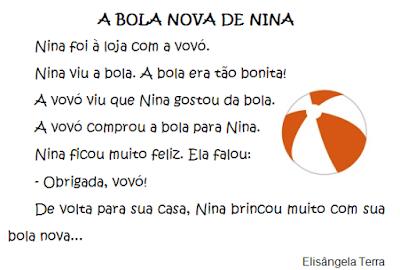Texto A BOLA NOVA DE NINA