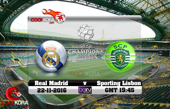 مشاهدة مباراة سبورتينغ لشبونة وريال مدريد اليوم 22-11-2016 في دوري أبطال أوروبا