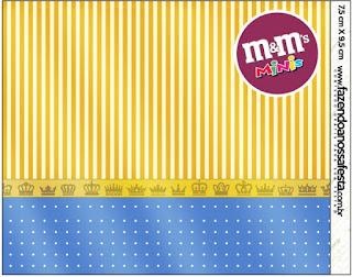 Etiqueta M&M deCorona Dorada en Azul y Amarillo para imprimir gratis.
