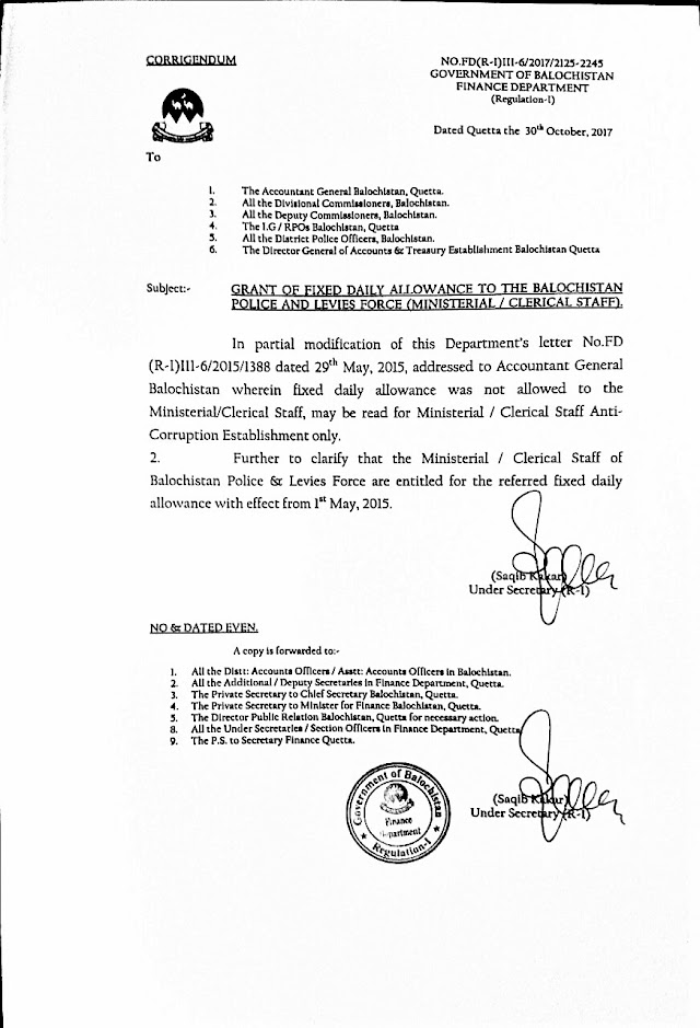 GRANT OF FIXED DAILY ALLOWANCE TO BALOCHISTAN POLICE AND LEVIES FORCE (MINISTERIAL / CLERICAL STAFF)