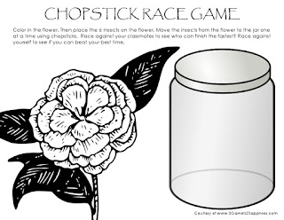 Free printable Chopstick Race Game  |  3 Garnets & 2 Sapphires
