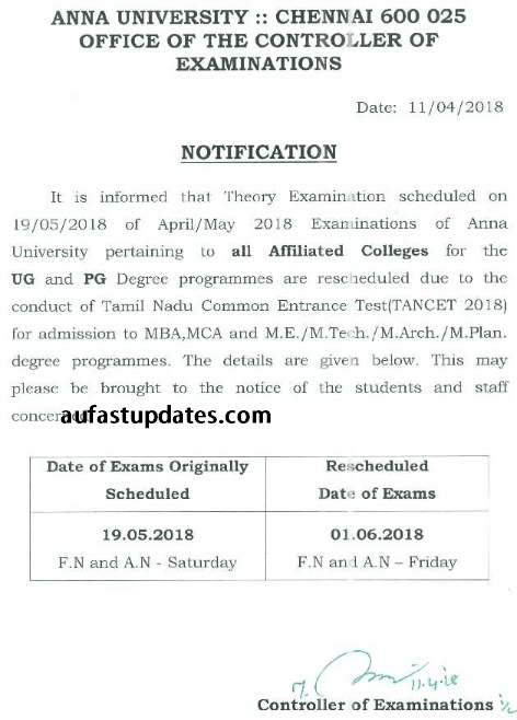 Examination Reschedule Notification for (Apr./May. 2018 Exams) due to TANCET 2018 Examinations