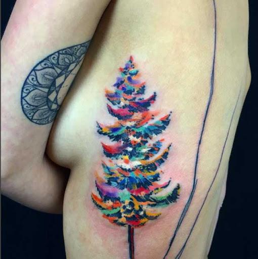 Esta aquarela de pinheiros