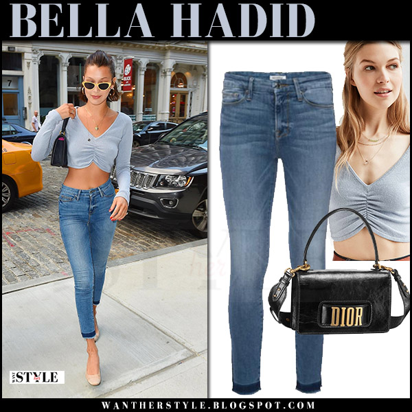 Bella Hadid in light blue cropped top and skinny jeans good american july 19 2017 celebrity model style