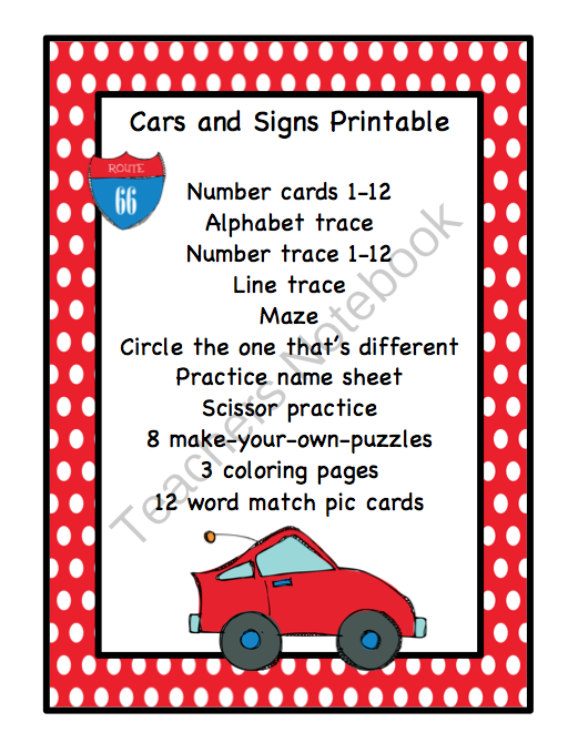 Cars And Signs Printable Preschool Printables - Signs of cars with names