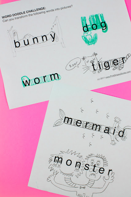 Word doodle challenge- fun art activity printable for the whole family
