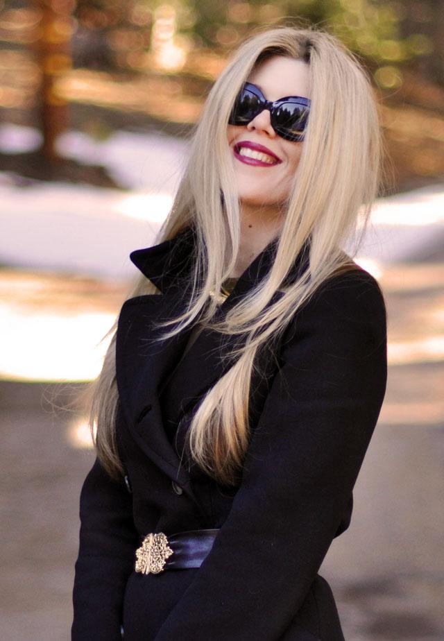 dark lips, vintage sunglass, straight hair