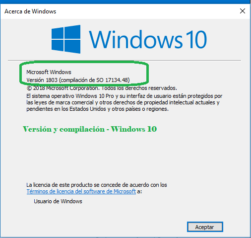 winver versión windows 10 1803 instalado