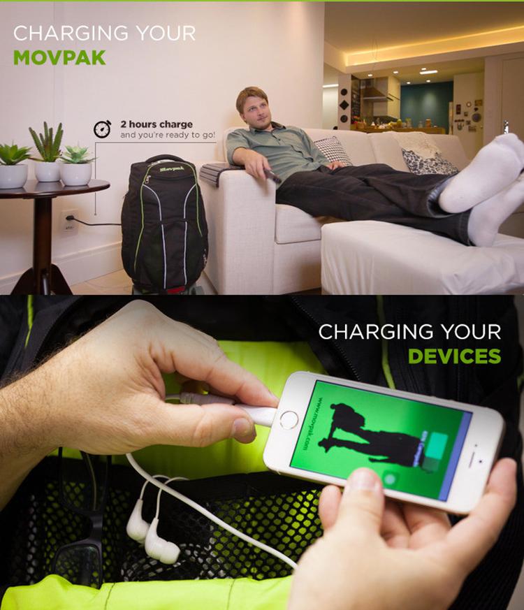 O MovPak carrega em 2 horas - é possível carregar dispositivos