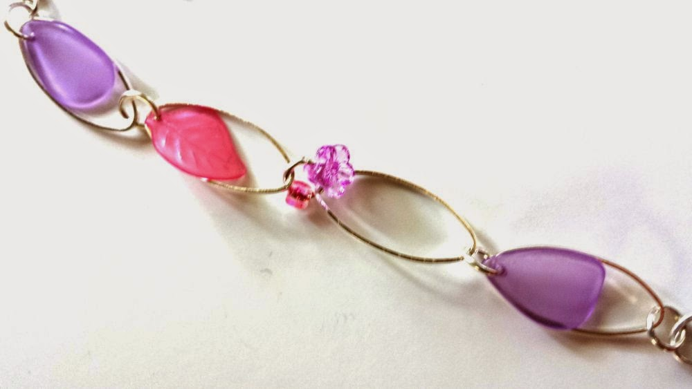 Purple universe: lucite leaves, flowers, and petals, silver-plated oval links, wire wrapping, ooak necklace :: All Pretty Things