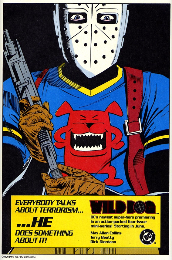 Wild Dog house ad (circa 1987). Property of DC comics.