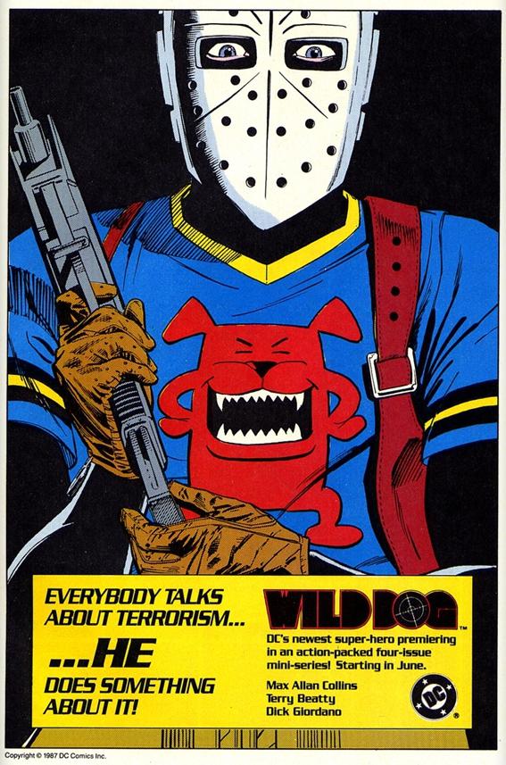 Wild Dog house ad (circa 1987). Property of DC comics.