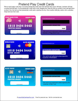 pretend play credit cards