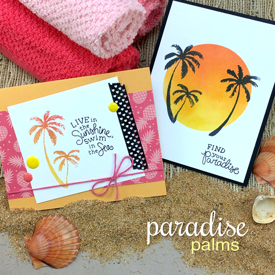 Palm Tree Sunset Cards by Jennifer Jackson | Paradise Palms stamp set by Newton's Nook Designs #newtonsnook
