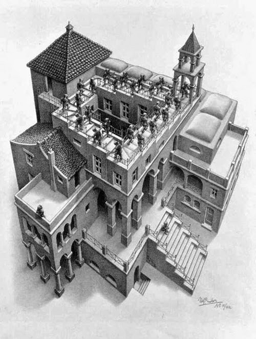 04-Ascending-and-Descending-Andrew-Lipson-M-C-Escher-v-Lego-in-Drawing-v-Sculpture-www-designstack-co