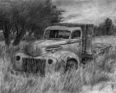 art drawing charcoal truck Ford grass abandoned tree