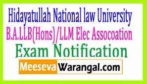 Hidayatullah National law University B.A.LLB(Hons)/LLM Elec Assocoation (SBA) 2016-17 Notification