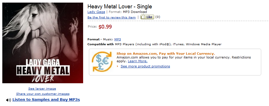 Heavy Metal Lover | 6th Single According To Amazon - Lady