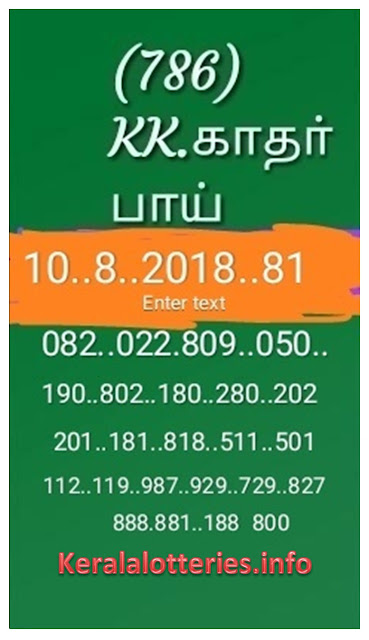 KK Kerala Lottery abc guessing numbers Nirmal NR-81 10-08-2018