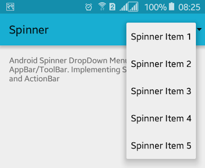 Android Example: How to Implement Spinner in ActionBar/Toolbar