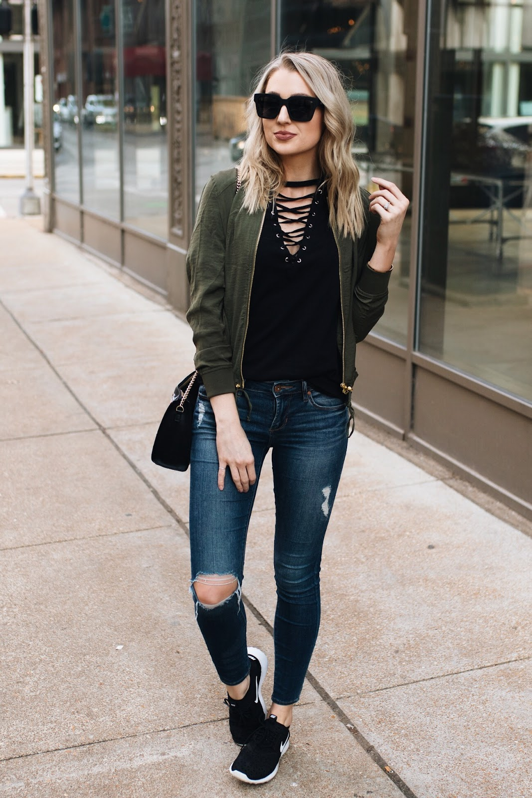 Weekend casual outfit with sneakers