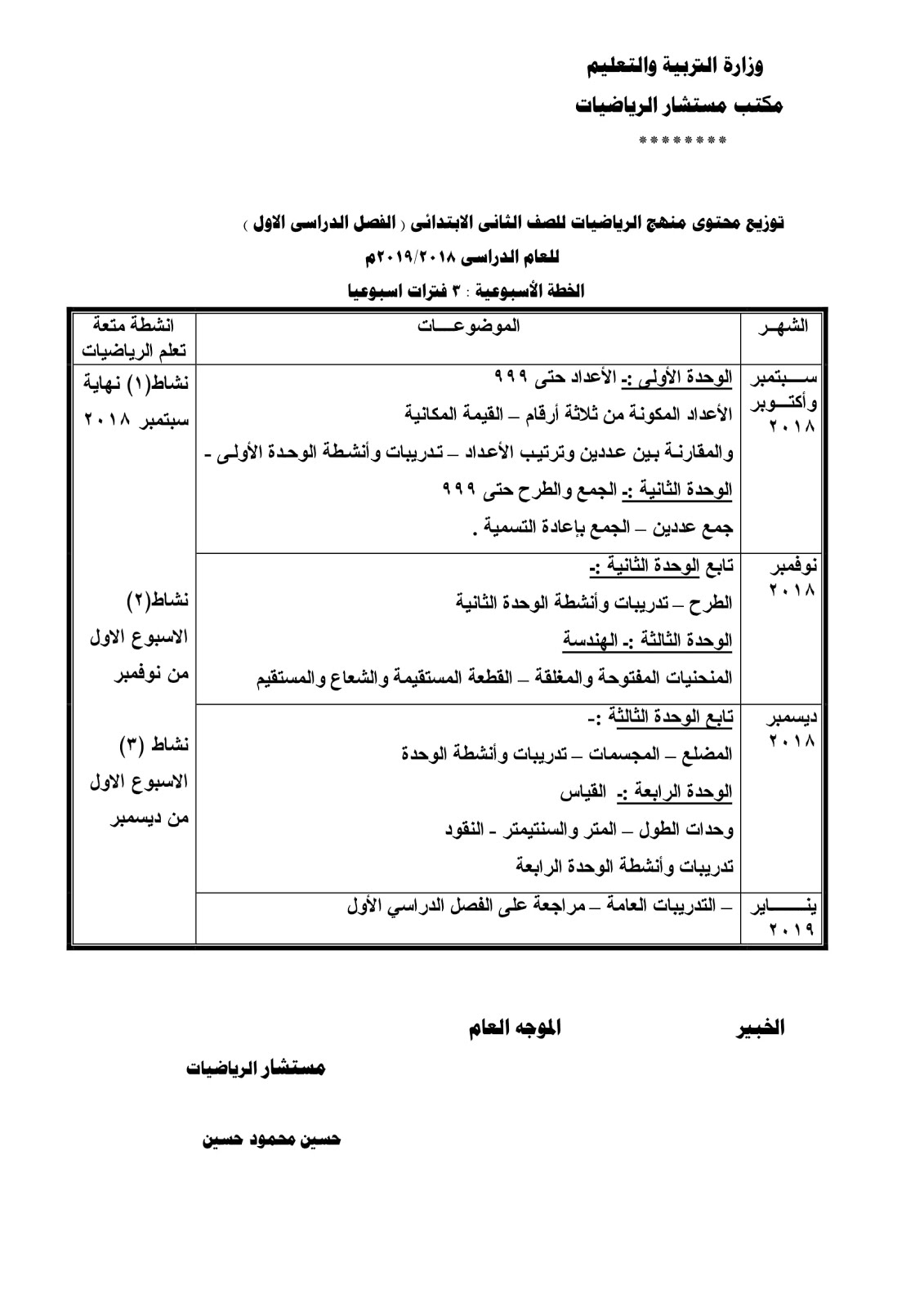 توزيع منهج الرياضيات الفصل الدراسي الأول تانية ابتدائي  2019