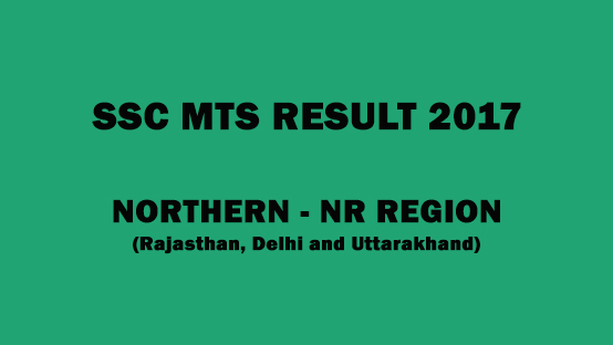 SSC MTS 2017 NR region result