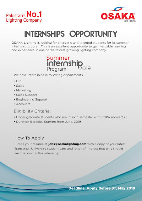 Osaka Lightning Summer Internships Program 2019