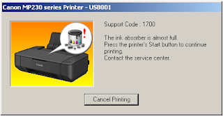 Cara Mudah Memperbaiki Printer Canon MP237 Error 5B00 dan 1700 Muncul gambar Cat Tumpah