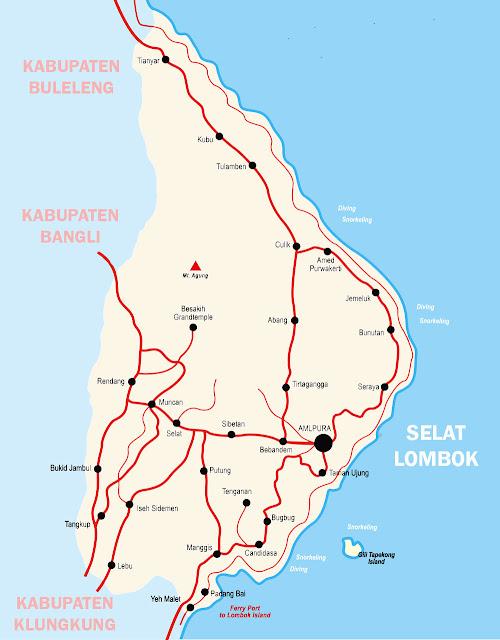 Peta karangasem Bali Lengkap