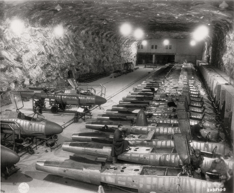36 Amazing Historical Pictures. #9 Is Unbelievable - Underground German Heinkel 162 aircraft development facility WWII era