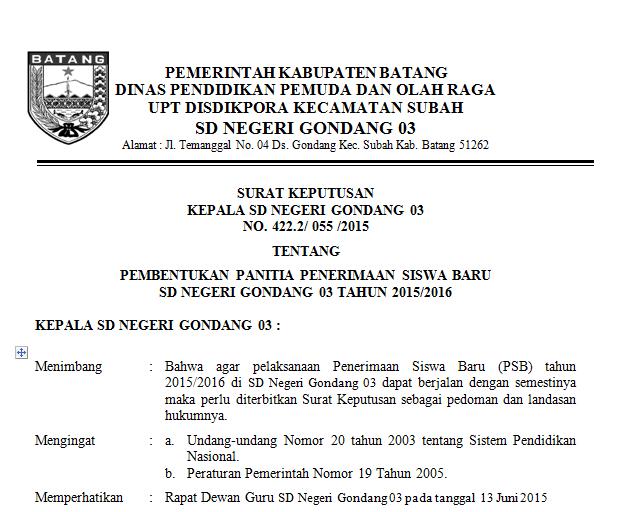 Contoh SK Pembentukan Panitia PPDB/PSB