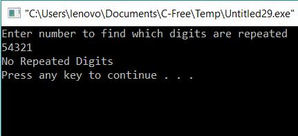 Check if Repeated digits are there using Recursion