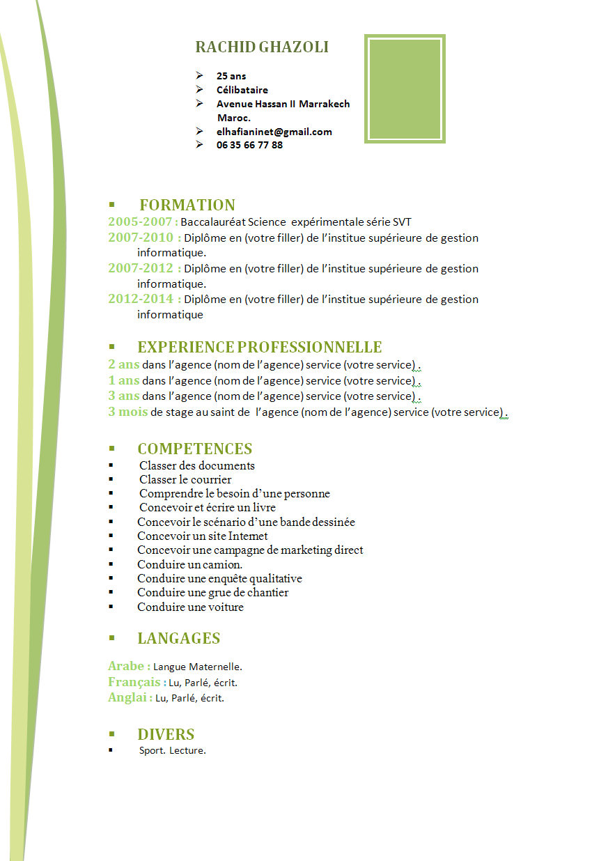 comment faire un cv  cv simple original verte format word