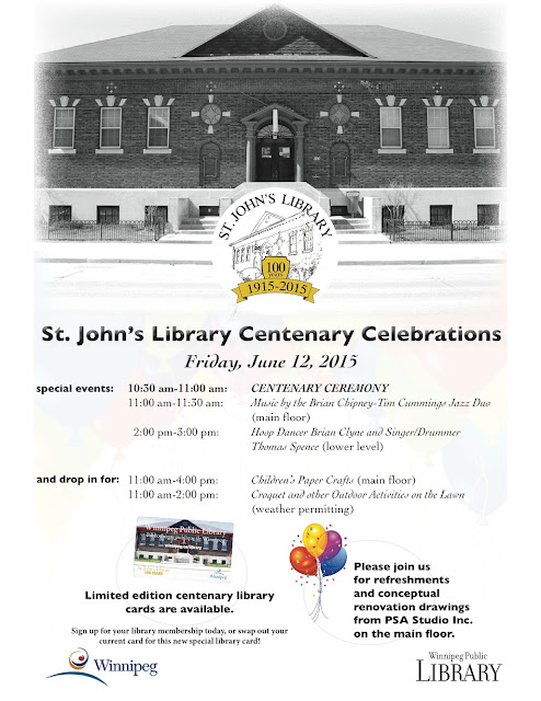 The St. John's Library celebration is June 12, 2015. Click for larger image. Image courtesy of the Winnipeg Public Library.