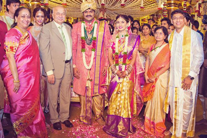 K Raghvendra Rao,  Nandamuri Balakrishna, Manoj Manchu and Pranathi Reddy Wedding Pics