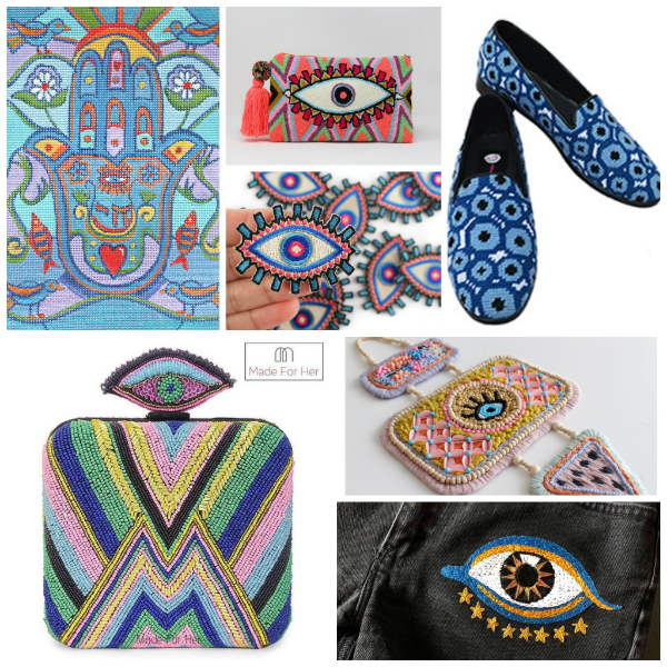 A selection of hand embroidered, needlepoint and beaded evil eye talismans